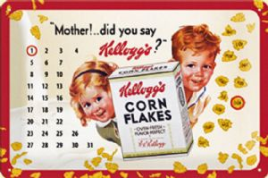 Kelloggs Mother! embossed steel sign / everlasting calendar   2030na